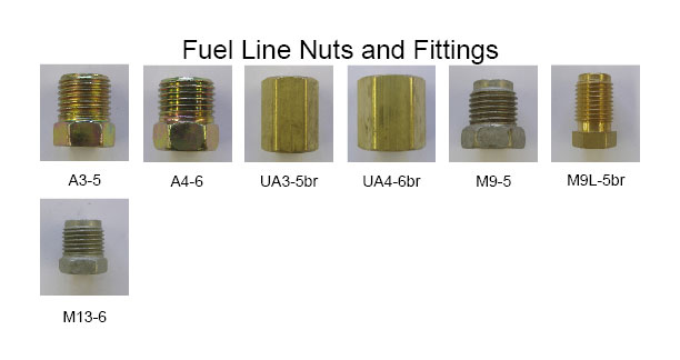 Photo of all fuel line nuts and fittings